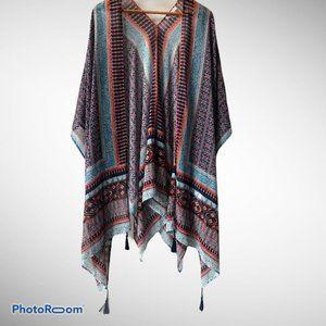 DR2 Womens Plus 2X Multicolor Kimono